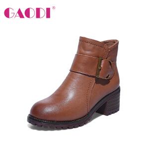 高蒂靴子女粗跟冬季新款皮带扣牛皮圆头短筒保暖加绒高跟短靴女