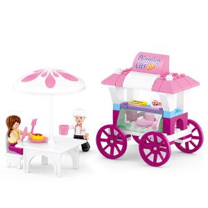 【当当自营】小鲁班新粉色梦想小镇女孩系列儿童益智拼装积木玩具 面包餐车M38-B0522