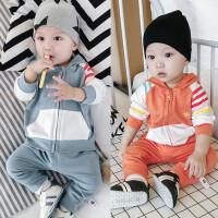 婴儿套装宝宝春秋季上衣裤子拉链卫衣2018新款运动春款036-12个月