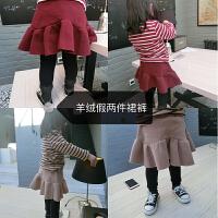 史豌豆女童裤子冬季加厚加绒棉裤儿童宝宝羊绒打底裤假两件裙裤