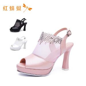 红蜻蜓小清新高跟网面带钻女鞋