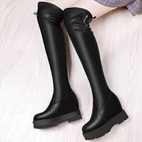 显瘦过膝长靴女英伦风长筒2017冬季新款内增高时尚高筒加绒弹力靴