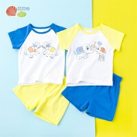 贝贝怡男女童短袖套装夏季新款洋气卡通薄款T恤裤子192T361