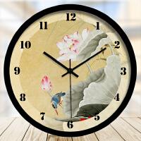 田园新中式鸟钟表中国风客厅文艺装饰挂钟石英钟静音挂表
