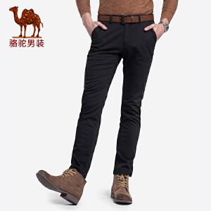 骆驼男装 2018秋季新款青年时尚纯色中腰直筒舒适弹力休闲长裤男