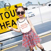 女童套装2018夏装新款童装韩版儿童字母吊带背心+格子短裙两件套