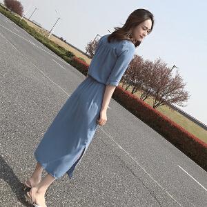【班图诗妮】2018春夏新款女装韩版收腰显瘦气质中袖雪纺开叉连衣裙女