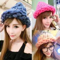 帽子女秋冬季休闲百搭粗毛线帽冬天潮韩国版针织保暖甜美可爱卷边