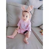 20180508142229462婴儿连体衣服宝宝季婴装哈衣新生儿睡衣短袖03个月新年