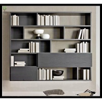 北欧简约黑橡木色书柜书橱展示柜隔断柜玄关柜定做胡桃色隔断柜 1.4米以上宽