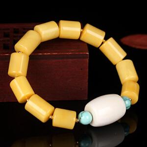 蜜蜡满蜡桶珠创意DIY串款手串 配象牙 桶珠