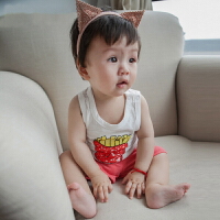 婴儿衣服宝宝夏季女童吊带纯棉圆领卡通男儿童薄款无袖小背心