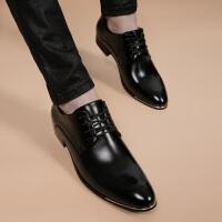 CUM 男士皮鞋春秋季男鞋时尚青年休闲鞋透气内增高尖头黑色日常鞋子男