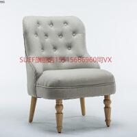 欧式单人沙发美式乡村复古沙发咖啡厅沙发椅老虎椅休闲布艺小沙发