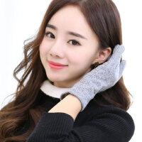 可爱韩版户外骑车五指手套长款女加绒加厚保暖纯色触摸屏手套