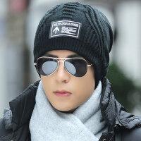帽子男韩版男士针织帽加绒加厚毛线帽套头帽子冬季保暖帽