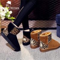 豹纹加绒防滑时尚百搭防水靴雪地靴女短筒平底短靴