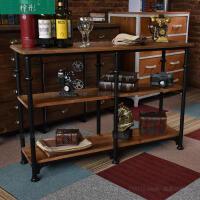 餐边柜美式厨房置物架落地厨柜微波炉架铁艺简约多层实木茶水支架 单门