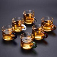 黄色手柄六只装耐热玻璃品茗杯小品杯彩色带把茶杯主人杯功夫茶道茶具配件6只装