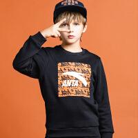【满99-20】安踏童装中大童卫衣男童卫衣春秋款2021儿童卫衣男运动加绒套头衫A35948746
