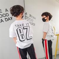 男童t恤2018夏装新款韩版潮时尚儿童短袖纯棉圆领宽松印花黑色