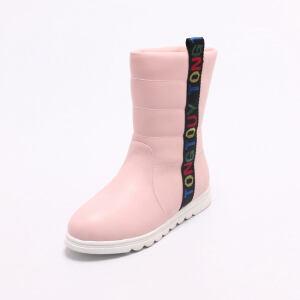 O'SHELL法国欧希尔新品冬季119-7017韩版超纤皮平跟女士亲子雪地靴