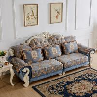 欧式沙发四人位三人位直排布艺可拆洗简欧小户型客厅具实木雕刻 +脚踏