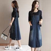 牛仔吊带裙女秋装新款长袖韩版宽松学生中长款背带连衣裙两件套