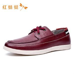 【专柜正品】红蜻蜓纯色时尚圆头低跟舒适休闲男单鞋