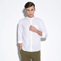 新款棉麻衬衫男 立领长袖衬衫 情侣中性衬衫女 小码男装夏季亚麻衬衫 白色(立领棉麻衬衫)