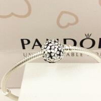 PANDORA潘多拉手链串珠黑白珐琅神秘花朵791494EN12现货专柜正品