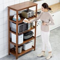 厨房置物架落地多层微波炉烤箱收纳架家用客厅实木储物柜楠竹架子