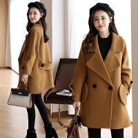 【年货 满200减100 400减180】 Fanru梵如 2017冬季新款韩版宽松毛呢大衣女式中长款毛呢外套时尚冬装