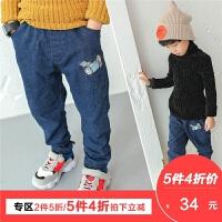 男童牛仔裤2017新款韩版冬季儿童加绒长裤加厚冬款蓝色宝宝潮