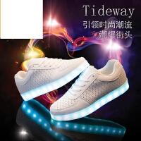 新品男鞋休闲鞋白色布洛克风灯鞋七彩发光鞋男女LED夜光鞋荧光鞋女鞋情侣款USB充电鬼