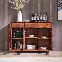 餐边柜全实木储物柜茶水柜酒柜现代新中式厨房客厅碗柜餐厅 3门
