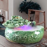 陶瓷客厅家居装饰品流水喷泉鱼缸加湿器桌面摆件风水轮办公室招财