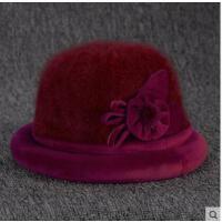 老人帽子女中老年女士礼帽妈妈保暖加厚绒兔毛盆帽老年人帽