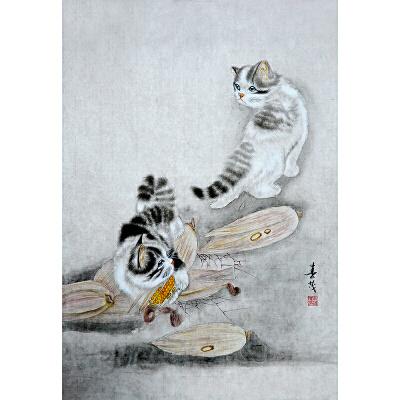 米春茂 当代著名工笔画家 尤擅猫狗动物 《猫趣》