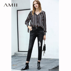 【到手价:155.9元】Amii极简欧货潮时尚衬衫女2018秋新长袖复古撞色条纹露背上衣