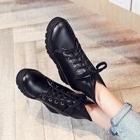 彼艾2017秋冬季新款韩版平底女短靴厚底内增高女鞋系带马丁靴学生女靴子