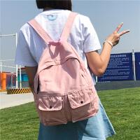 日系原宿森系韩版ulzzang 双肩包女水洗帆布休闲背包中学生书包女