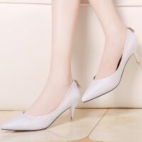 【春季新款】莫蕾蔻蕾高跟鞋英伦风尖头女鞋浅口套脚细跟单鞋 70011