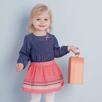 davebella戴维贝拉女童装春季新款假两件长袖连衣裙