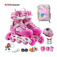 正品美洲狮MS737闪光溜冰鞋儿童套装可调直排轮滑鞋 滑冰鞋旱冰鞋