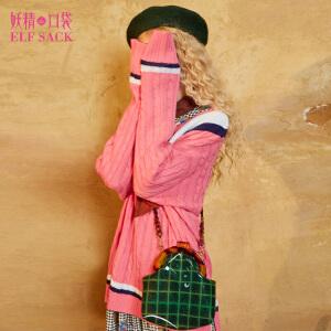 妖精的口袋芝加哥烈焰秋冬装新款V领宽松撞色百搭毛衣女