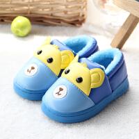 棉拖鞋冬季包跟PU皮男女童软底防水防滑冬季居家宝宝保暖拖鞋