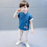 复古儿童汉服儿童唐装男童套装夏季短袖棉麻两件套中国风男宝衣服
