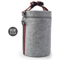 毛毡布保温袋便当包饭盒袋手提包学生圆形带饭包午餐包铝箔饭袋子hwh