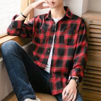 港风格子衬衫男长袖韩版衬衣青年帅气潮流寸衫